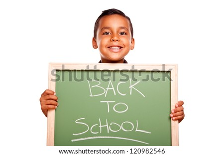 Cute Hispanic Boy Holding Chalkboard with Back to School Isolated on a White Background. - stock photo
