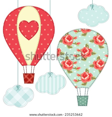 Cute hot air balloons as retro fabric applique in shabby chic style - stock photo