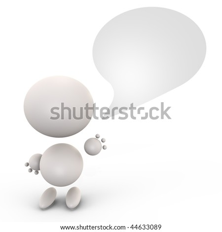 Cute human with a speaking bubble - 3d image - stock photo