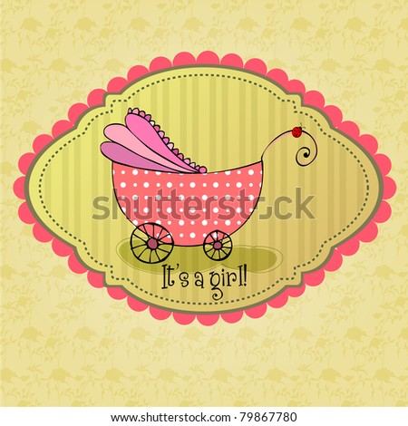 cute illustrated doodle Baby arrival card with carriage - stock photo