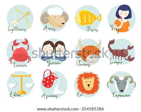 cute illustration of zodiac signs, set  horoscope,Aries, Leo,Sagittarius,Taurus,Virgo,Capricorn,Gemini,Libra,Aquarius,Cancer ,Scorpio,Pisces - stock photo