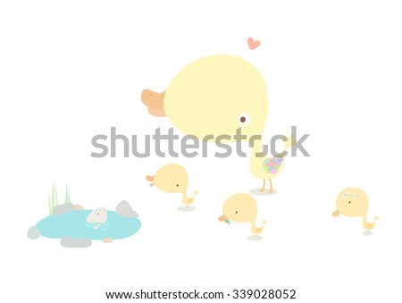 Cute illustrations of duck and ducklings. - stock photo