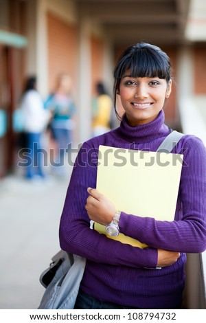 cute indian high school girl in school - stock photo