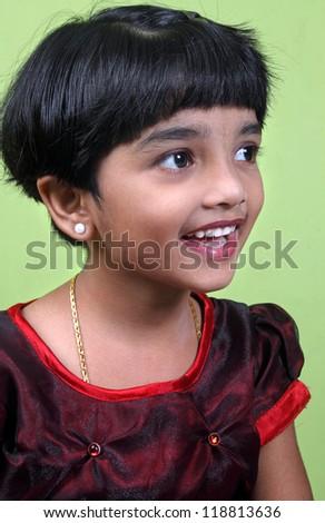 Cute Indian Little Girl - stock photo