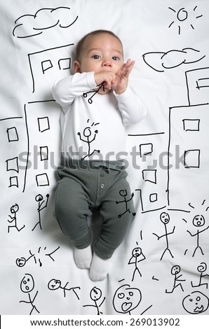 Cute infant baby boy drawn as a giant eating little people sketch - stock photo
