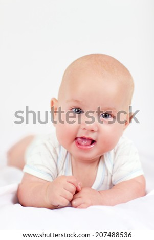 cute infant baby boy, four months old - stock photo