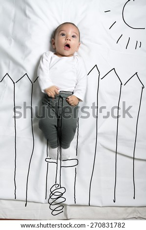 Cute infant baby boy on pogo stick sketch - stock photo