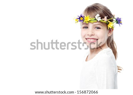 Cute isolated girl child wearing flower wreath - stock photo