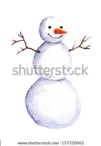 Cute isolated painted snow man - stock photo