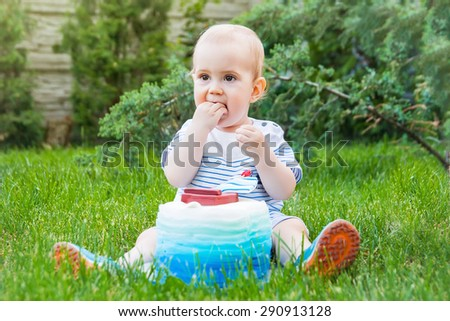 Cute Kid Eating His Birthday Cake Stock Photo 290913128 Shutterstock