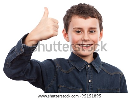 Cute kid making thumbs up sign isolated on white background - stock photo