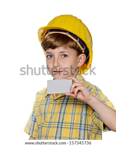 Cute kid while wearing construction helmet with holding blank white card to write it on your own text, isolated on white background