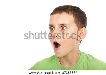 Cute kid with an expression of great surprise - stock photo