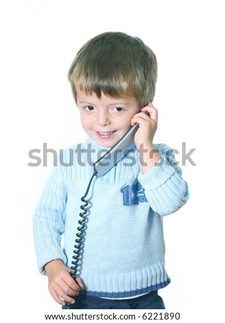 Cute kid with phone handset