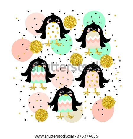 Cute kids colorful illustration with black birds in glittering gold, black, solid pastel shades pink, green and beige shades. - stock photo