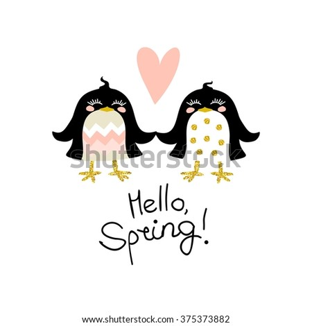 "Cute kids colorful illustration with two black birds in glittering gold, black, solid pastel shades pink, green and beige shades, hearts and hand written lettering ""Hello, spring"". - stock photo"