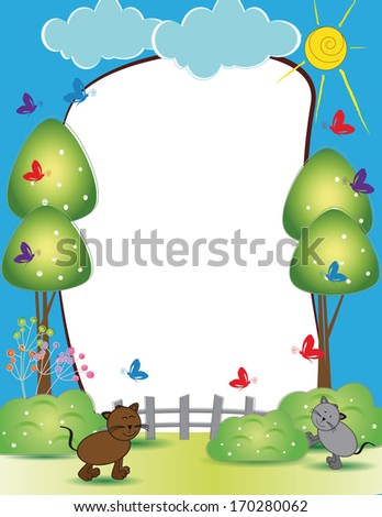 Cute kids frame with happy cats and butterflies