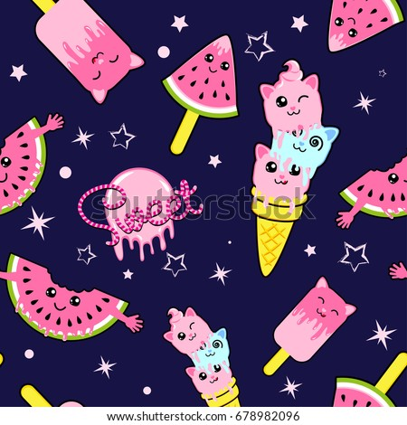 Cute kids pattern for girls and boys. Colorful ice cream on the abstract grunge background create a fun cartoon drawing. The background is made in neon colors. Urban backdrop for textile and fabric.