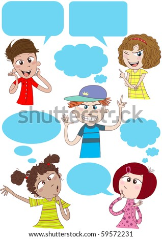 cute kids talking and thinking with speech bubbles