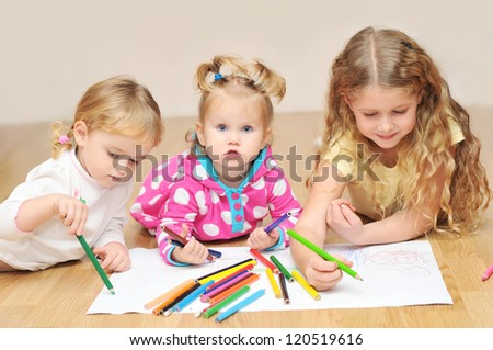 Cute kids with crayons - stock photo