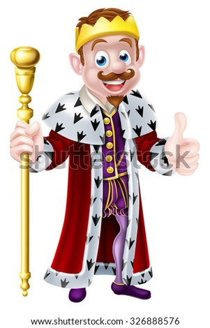 Cute king mascot illustration holding a sceptre and giving a thumbs up