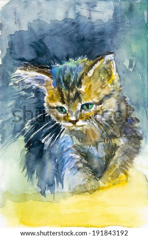 Cute kitten on blue background artistic watercolor painting illustration - stock photo