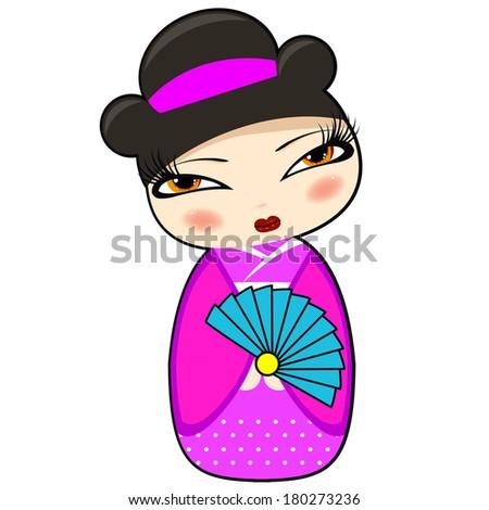 Cute kokeshi doll: raster illustration - stock photo