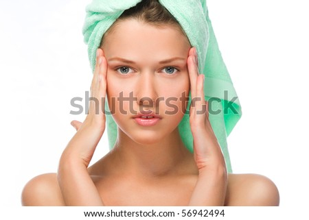 Cute lady in a towel after bath isolated on white background - stock photo