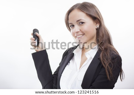 Cute latin business woman during a presentation - stock photo