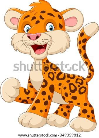 Cute cartoon baby leopard