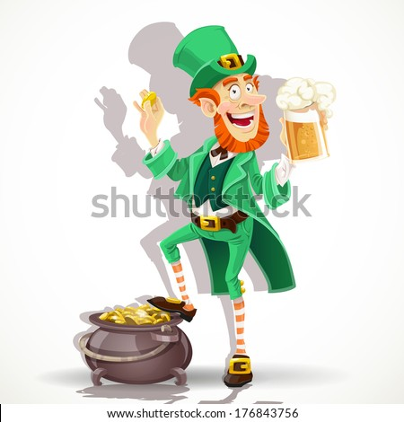 Cute Leprechaun drinking beer and protects pot of gold coins - stock photo