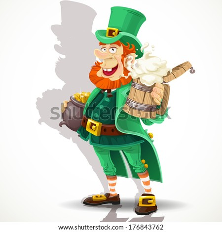 Cute Leprechaun with beer and pot of gold celebrating St Patrick's Day - stock photo