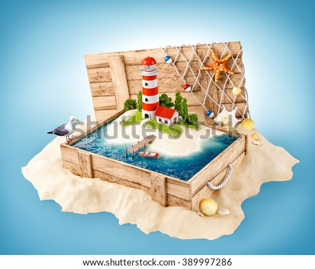 Cute lighthouse on the island in opened wooden box on a pile of sand - stock photo