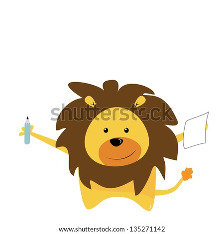 cute lion with pencil - stock photo