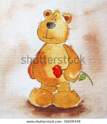 Cute littel teddy bear red flower in hands. Art is painted and created by photographer. - stock photo