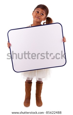 Cute little african american girl holding a whiteboard, isolated on white background - stock photo