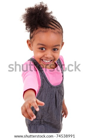 cute little african american girl smiling - stock photo