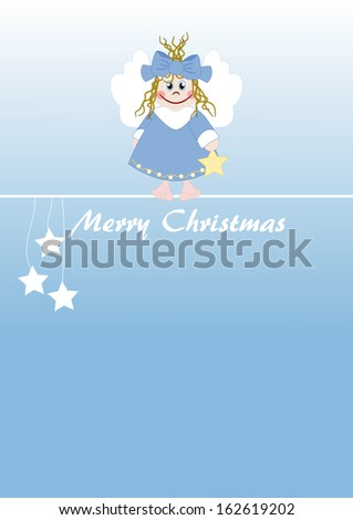 Cute little angel - Merry Christmas - stock photo