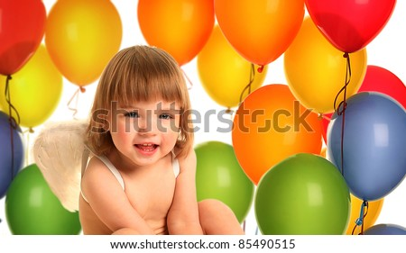 cute little angel with balloons