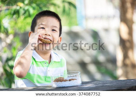 Cute little asian boy eating cookie in park with sunshine - stock photo