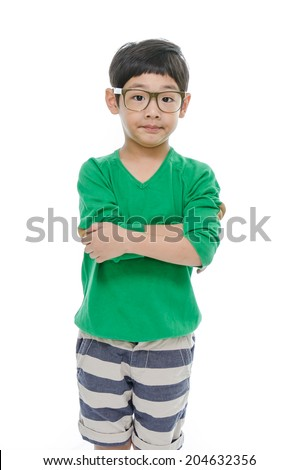 Cute little asian boy is  wearing glasses, isolated - stock photo