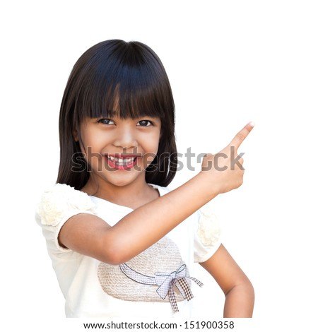 Cute little asian girl with index finger up, Isolated over white with clipping path
