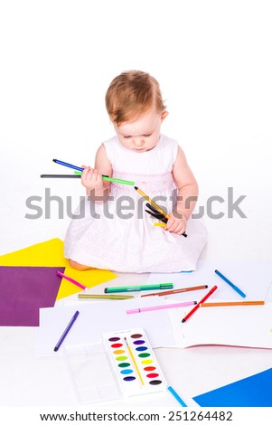 Cute little baby drawing isolated on white - stock photo