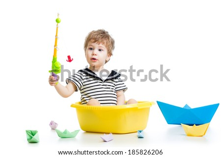 Cute little baby fishing on white background - stock photo