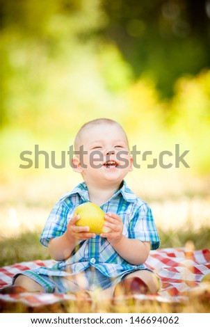 cute little baby have a picnic - stock photo