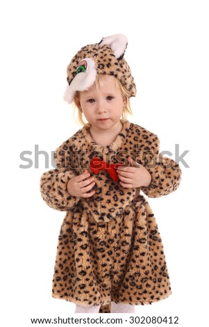cute little baby in the costume of a tiger