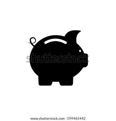 Cute little black and white piggy bank silhouette standing sideways in a financial and savings concept illustration - stock photo