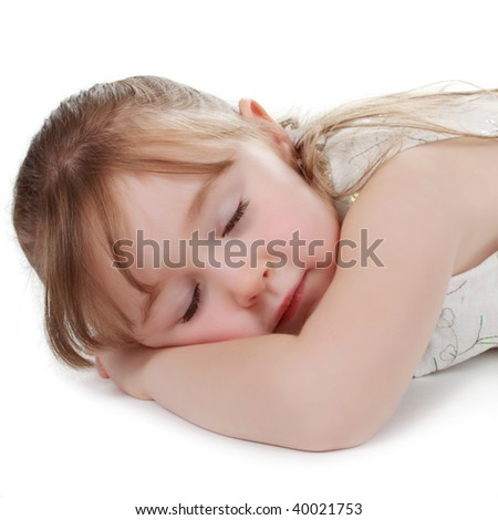 cute little blond girl isolated on white background