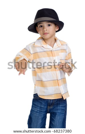 cute little boy dancing on white background. hands slightly motion blurred from this action. - stock photo