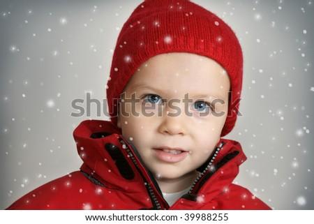 cute little boy in red hat - stock photo